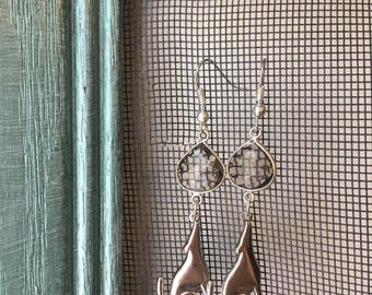 Smoky Quartz and Howling Coyote Earrings