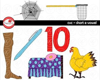 CVC Short E Vowel Clipart: Digital Image Set (300 dpi) School Teacher Clip Art Early Reading Picture Alphabet