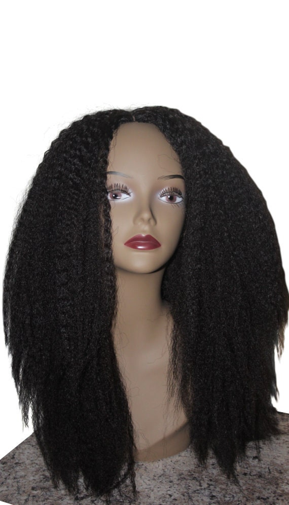 Essence Wigs Kinky Straight Wig Thick Textured Full Cap Blow out Dark Brown w/ Highlights Unit 4b 4c 4a Crochet