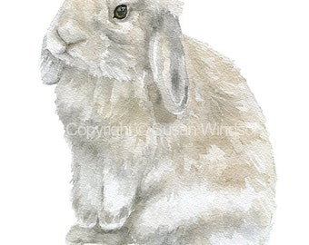 Watercolor Bunny Painting Giclee Print - 5 x 7 - Nursery Art - Gray Tan Lop Rabbit