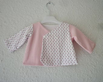 Bra wrap-pink and white, jersey and fleece, size 3-6 months