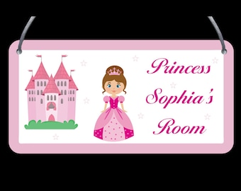 Princess Door Plaque - Child's name, Personalised, Wall Sign, Girls, Boys - FREE POSTAGE