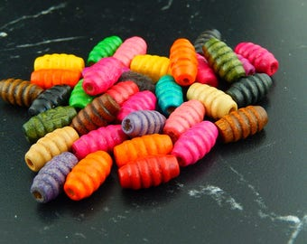 10 wooden beads oval striped color 905