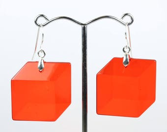 Minimalist (1960-Present) Sterling Silver Cube Red Perspect Earrings