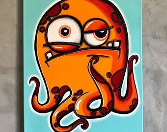 PhEEL - a lifetime of x boyfriends - part of a series - 18x24 original acrylic painting, monster art, monster decor, monsters everywhere