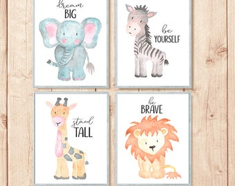Safari Nursery Prints, Animal Nursery Art, Safari Animal Prints,