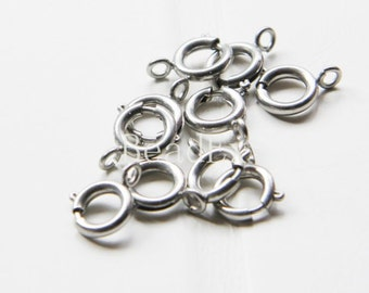 10 Pieces / Matte Rhodium Plated / Brass Base / Ring / Spring Clasp (C339//I51)