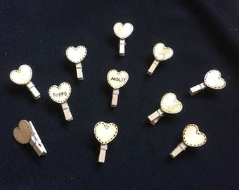 10 x Adorable Personalised Wooden Pyrography Little Heart Pegs Wedding Favour/Place Name