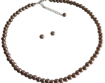Necklace With Stud Earrings In Bronze Pearls Small Girls Jewelry Free Shipping In USA