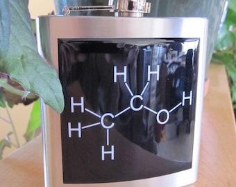 Ethanol Molecular Diagram Liquor Hip Flask 6 ounce