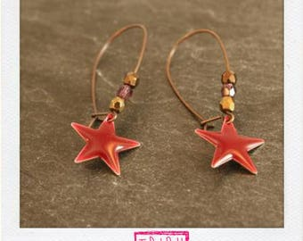 Large color copper earrings enameled Stars bordeaux and assorted beads