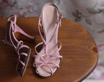 Vintage 1950's Pink Leather Heels/Sandals