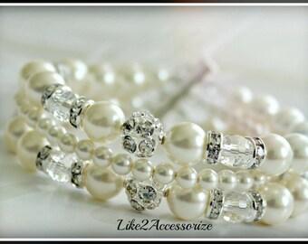 Bridal Cuff Bracelet, Three Strand Bracelet, Bridal Jewellery, Wedding Bracelet, Swarovski White Ivory Pearl Bracelet, Multistrand Bracelet