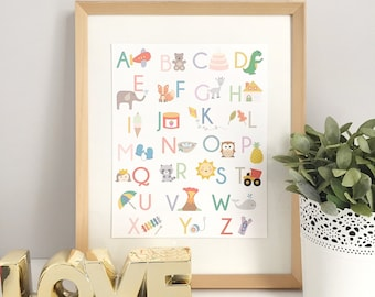 Alphabet Print | Alphabet Art | ABC Print | Alphabet Poster | Kids Room | Nursery Art