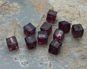 Purple Cube Beads, Small Glass Cube Beads, 6mm, 10 beads per package