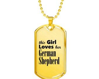 German Shepherd - 18k Gold Finished Luxury Dog Tag Necklace, Dog Tag Pendant