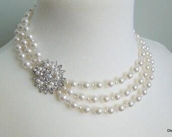 pearl necklace Bridal necklace pearl rhinestone necklace Statement Wedding necklace swarovski crystal necklace rhinestone necklace MIRNA