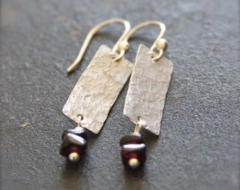 Sterling Silver Earrings with Garnet, Textured Sterling Earrings, Sterling Silver Garnet Earrings, Hammered Sterling Earrings