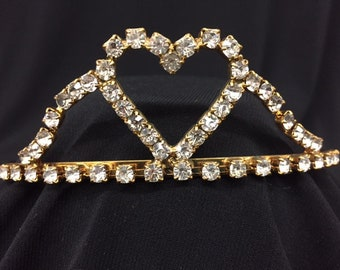 Vintage Gold Heart Tiara! Wear at Wedding, Prom, Sweet 16, Quinceanera or be a Princess