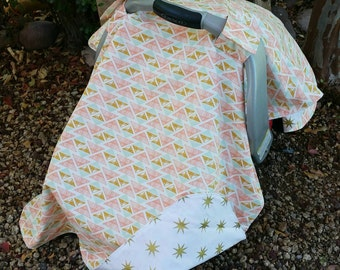 Baby Car Seat Cover - Baby Car Seat Canopy - Coral Mint Canopy - Tribal Car Seat Canopy - Baby Shower Gift - Gold Car Seat Cover