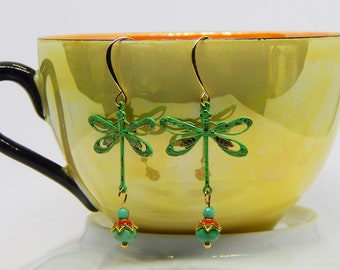 Green Dragonfly Earrings with Chrysoprase Gemstones