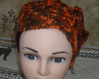 Hat circumference 50 cm head crocheted orange/brown Heather wool