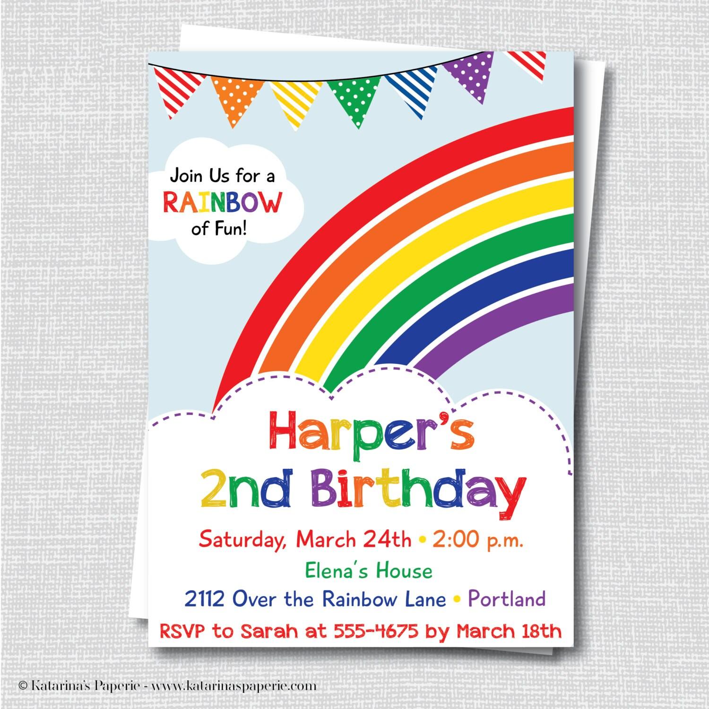 Colorful Rainbow Birthday Party Invitation Rainbow Themed