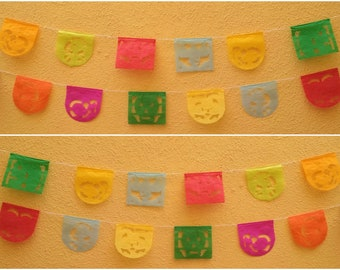Mini Mexican Papel picado Day of the dead paper banner dia de los muertos string attached with 10 flags Mexico Assorted Colors