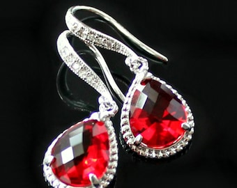Brilliant Red Teardrop Crystals Set in Silver with Crystal Detailed French Earrings