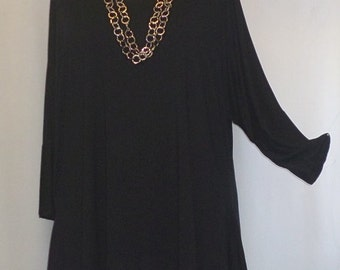 Womens Plus Size Tunic Top, Coco and Juan, Lagenlook, Plus Size Tunic, Black Traveler Knit Drape Sides Tunic Top One Size Bust  to 60 inches