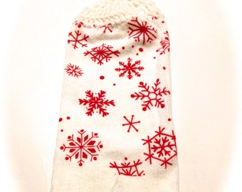 Red Snowflake Hand Towel With White Crocheted Top