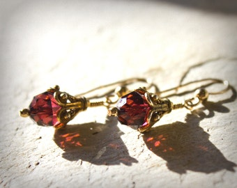 Garnet Gold Crystal Earrings Swarovski Crystal Genuine Gold and Vermeil Dangle Holiday Formal