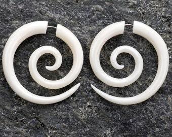 White Bone Large Spiral Fake Gauges Earrings
