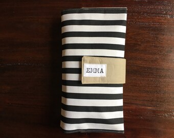 Diaper Clutch, Nappy Wallet, Black and White Striped Canvas, Personalized, Monogram, Baby Shower Gift, Custom Baby Gift