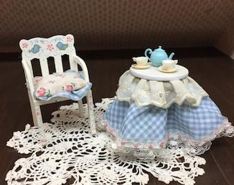Miniature Childs Chair W/ Skirted Tea Set Table