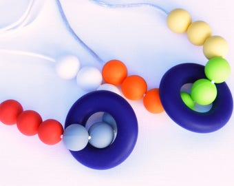 Teething Necklace, Nursing Necklace for Mommy and Baby Chew Beads Food-Grade Silicone Baby Safe Gift for Her