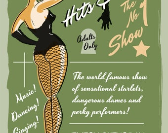 Hits & Hips Live Show Burlesque Risque Saucy Pin-Up Retro Home Decor Metal Sign