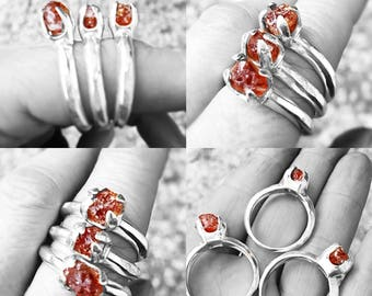 artisan raw gemstone sterling ring rock me baby natural US California spessartine garnet cocktail ring done right size 9 choose ONE ring