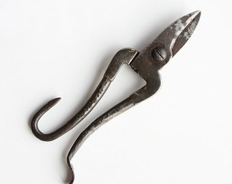Antique hand forged iron shears Tin cutting scissors Metal handmade tool Primitive tin snips Early Century Tools Collectible Rustic decor