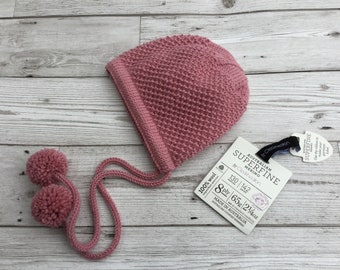 Hand knitted baby bonnet/ Baby hat with ties/ Bespoke baby bonnet / Merino wool baby hat. READY TO SHIP.