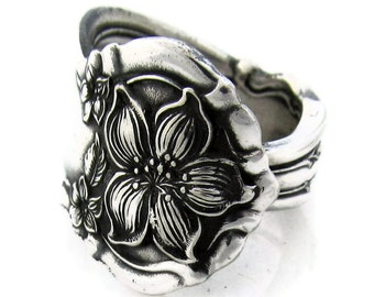 Spoon Ring, Silver Orange Blossom Choose Your Size