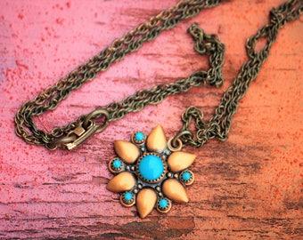 Copper Pendant Necklace, Vintage Turquoise Copper Necklace