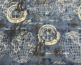 World map fabric etsy seven seas globes world map fabric gumiabroncs Gallery
