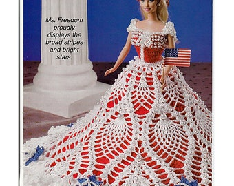 """Let Freedom Ring  11 1/2"""" Doll Crochet Pattern by Mary Layfield"""