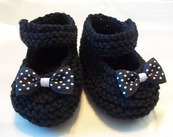 Black Baby Booties, Black Baby Shoes, Black Baby Girl Shoes, Black Newborn Shoes, Black Crib Shoes, Black Cotton Baby Booties, Black Shoes