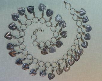 """Vintage Silver Metal Dangling Hearts Belt 33"""""""