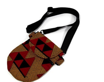 Dark Black, Red and Yellow  crossbody pouch,  passport purse, or crossbody cell phone bag