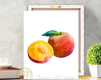 Peach, Fruit Print, Peach Art Decor, Peach Watercolor, Peach Poster, Peach Print, Canvas Peach, Peach Wall Art, Peach Art, Kitchen Peach