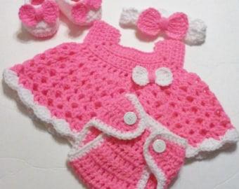 Crochet Bright Pink Baby Girl Dress Set with Diaper Cover, Headband, Ballerina Booties Newborn Baby Shower Gift  READY TO SHIP