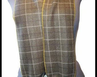 Green Plaid Fleece Scarf, Slim Style Muffler, Neck Scarf